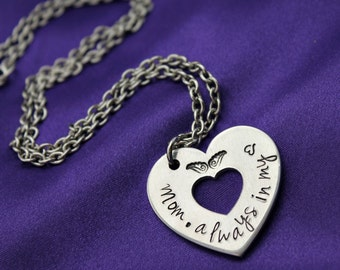 Mom always in my heart hand stamped memorial necklace
