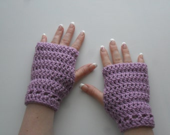 Hazel Wristlets in Orchid - Hand Wrist Warmers Fingerless Gloves Gauntlets Mittens - Ready to Ship
