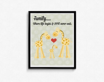 Giraffe Family Love Quote Art Download 1 Baby