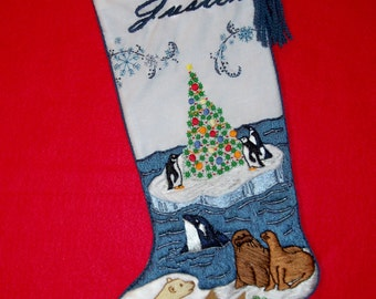 Left Facing Polar Christmas Stocking Kit - Personalized Crewel Embroidery Needlework Iceberg Xmas Scene