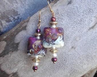 SALE!!!  Ocean Swirls Gold and Mauve Lampwork Glass Shell Earrings