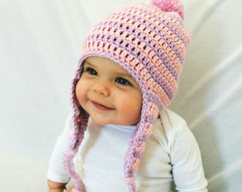 Baby Girl Winter Hat, Pink and Purple Hat, Crochet Hat, Newborn Baby Hat, EarFlaps, Girl Hat, 3-6-12 Months, Infant, Knit, Beanie, Pom pom