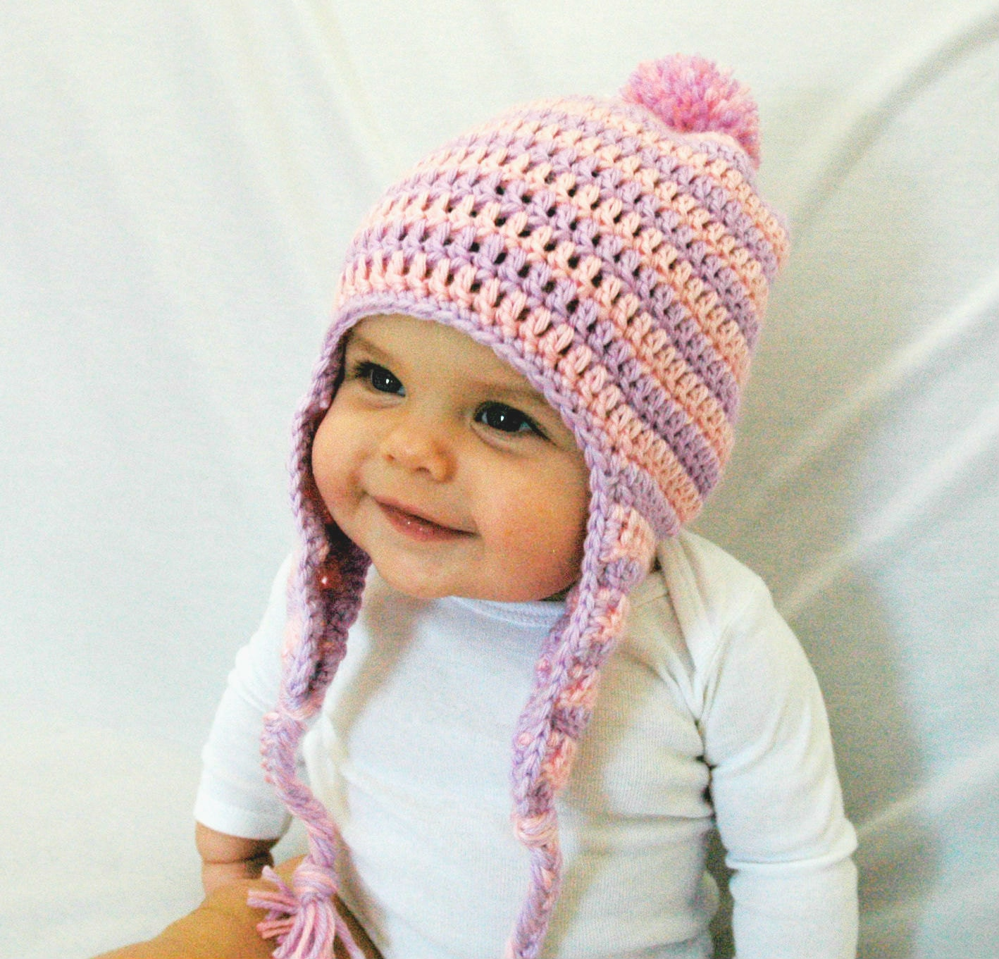 Baby Girl Winter Hat Pink Purple Crochet