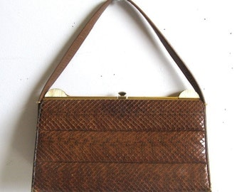 Vintage 1960s Handbag Mink Brown Paragon Lizard Skin Textured 60s Purse