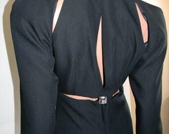 Vintage Cut out Black Evening Gown