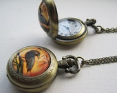 Raven Pocket Watch Necklace -Spooky Tree Pendant - Antique Bronze Locket