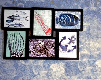 Sea Life Prints, Nautical Wall Decor, Ocean Art, 5x7 set of 6 Art Prints, Giclee Print, Nautical Wall Art, Beach House Decor