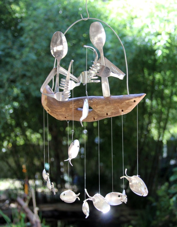 Gone fishing spoon fish windchime pair of flatware men for Fish wind chimes