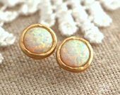 Opal Earrings,Opal stud earrings, White Opal earrings, Gold Opal earrings,Gift for woman, October birthstone, Dainty Opal earrings.