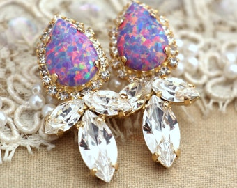 Opal Purple White chandelier earrings Drop earrings  - Swarovski opal studs, fashion jewelry,Swarovski crystal earrings gold plated