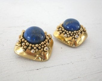 Vintage Imitation Lapis Lazuli Earrings Sidney Carron Gold Tone Clip On Signed Modernist Abstract Jewelry GallivantsVintage