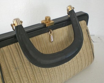 Vintage Tan Carpetbag Handbag Purse Black Leather Handle Gold Tone Accents Mid Century GallivantsVintage