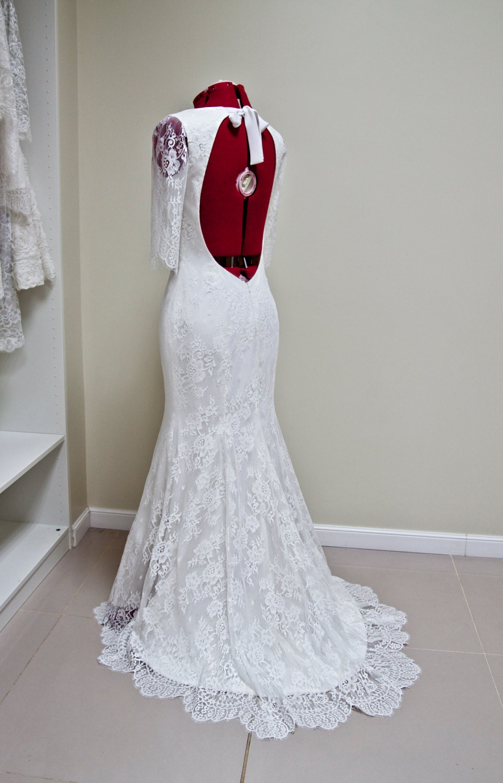 Chantilly lace wedding dress hippie boho lace dress bohemian for Hippie bohemian wedding dresses