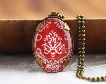 Oval Red Damask Necklace - Brass and Glass