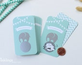 24 Scratch Off Cards for Baby Shower Game // Baby Elephant in Mint Green