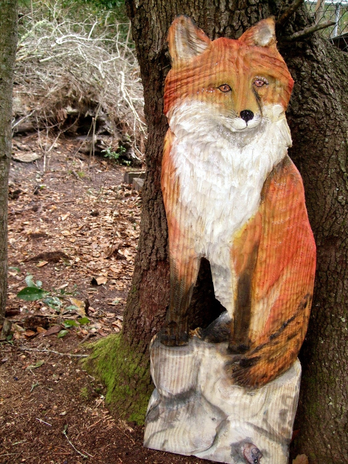 Red fox sitting on rock wall original todd lynd