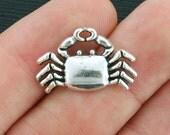 10 Crab Charms Antique Silver Tone - SC3990