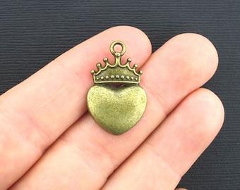 5 Heart Crown Charms Antique Bronze Tone - BC081
