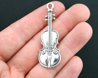 4 Large Violin Charms Antique Silver Tone - SC3717