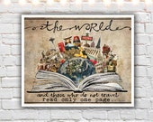 mixed media collage art - travel gifts - travel prints - typography
