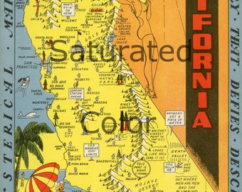 VINTAGE California Picture Map - High Res Digital Image - printable picture map for image transfer - cards- totes - pillows - to frame