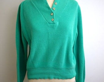 Teal/Seafoam Green Shawl Sweater with Wooden Buttons
