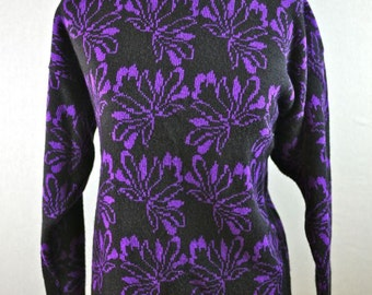 Purple and Black Floral Print Sweater