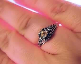 Birthstone Sterling Silver Filigree Ring handmade purple amethyst yellow citrine blue white opal topaz fine jewelry size 3 4 5 6 7 8 9 10 11