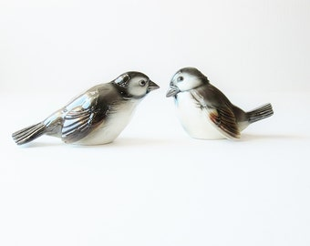 Vintage Sparrows Bird Figurines Goebel West Germany - Collectible Gift For Bird Watcher - Naturalist Minimalist - Natural Home Decor