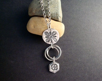 Fine Silver PMC Flower and Rings Pendant
