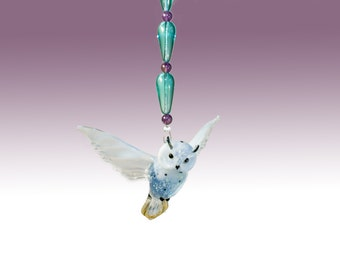 Fused Glass Snow Owl with Amethyst Beading