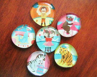 NEW CIRCUS MAGNETS Glass Bubble Magnets Full of Fun for All Ages Set of 6