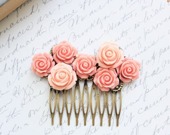 Bridal Hair Comb Pink Rose Peach Floral Collage Country Chic Flowers For Hair Spring Wedding Hair Accessories French Style Rose Garden