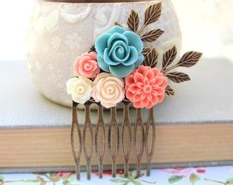 Flower Hair Comb Coral Chrysanthemum Bridal Comb Flowers for Hair Rustic Branch Comb Teal Hair Accessories Peach Rose Summer Beach Wedding