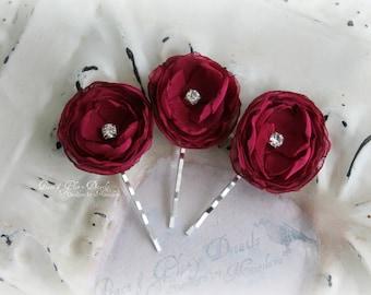 Chiffon Flower Hair Pins Set of 3 - Burgundy Garnet - Bridal Bridesmaids Flower girls - Wedding Accessories - Ready to ship