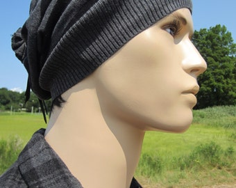 Men's Slouchy Beanies Black Gray Striped Tam Stripe Cotton Knit Hat A1497