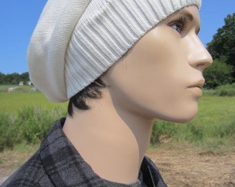 Men's Slouchy Beanie Hat Winter White Thick Knit Ivory Slouch Tam Warm Winter Hats A1281