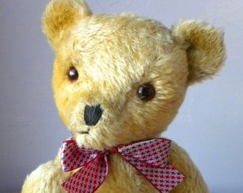 "Vintage 14"" Deans Bear - Mohair Bear - Deans Childsplay 1970's Toy - Bell in Ear - Label"