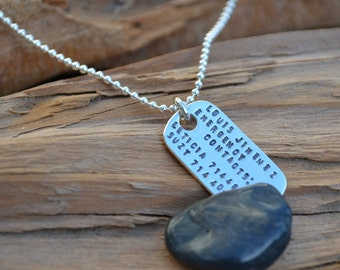 Personalized  Necklace - Sterling Silver - Emergency, Allergies, Phone Number , Kids ID, Safety Necklace  - For Kids, Disabled, Elderly