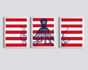 Octopus Ocean Beach Nautical Navy Red Stripes Set of 3 art prints