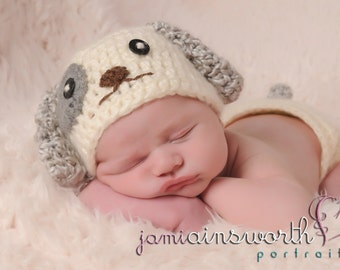 Baby Puppy Hat  and Diaper Cover Set , Newborn Puppy Set, Puppy Photo Prop, Gray Ears Puppy Hat, Newborn Crochet PHOTO PROP