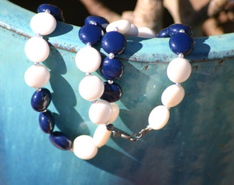 Vintage blue and white glass beaded necklace, costume jewelry, summer wear, July 4th gift, picnic wear, vintage lady