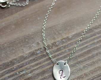 Initial Necklace - Sterling Silver Oval - Handstamped Oval Pendant - Script Initial - Bridesmaid Gift - Gift for Her - Valentine's Day Gift