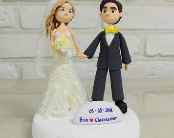 Cute couple personalized custom wedding cake topper keepsake