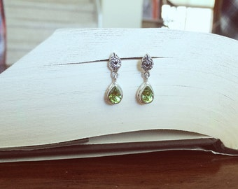 Peridot Dangle Earrings on Sterling Silver Posts. Bridal classy light green teardrop pear posts scroll work design princess boho ethereal