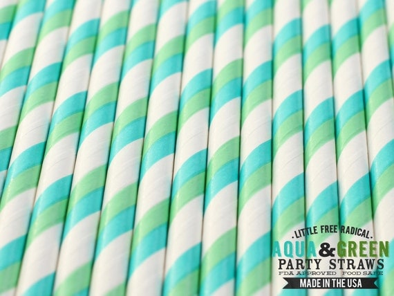Aqua & Green Striped Biodegradable Paper Straws  and Digital Flags - LIMITED EDITION - Ships within 1 business day