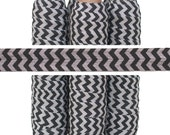 Gray and Black Chevron Print - Fold Over Elastic - 5 YARDS