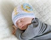 Crochet Baby Girl Football Flower Beanie - Newborn to Adult - White, Soft Blue, Sunshine - MADE TO ORDER