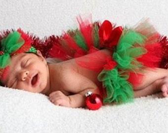 Newborn Christmas Tutu - Newborn Red and Green Tutu