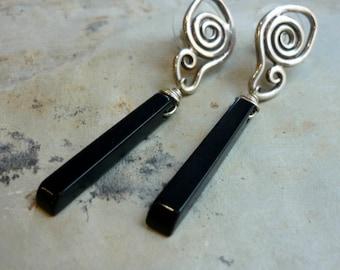 Black Onyx Earrings, Sterling Silver Earrings, Dangle Earrings, Long Earrings, Silver Spiral earrings, Statement Earrings, Long Posts Studs